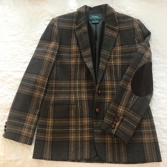 Ralph Lauren Jackets & Blazers - Plaid wool Ralph Lauren blazer w elbow patches